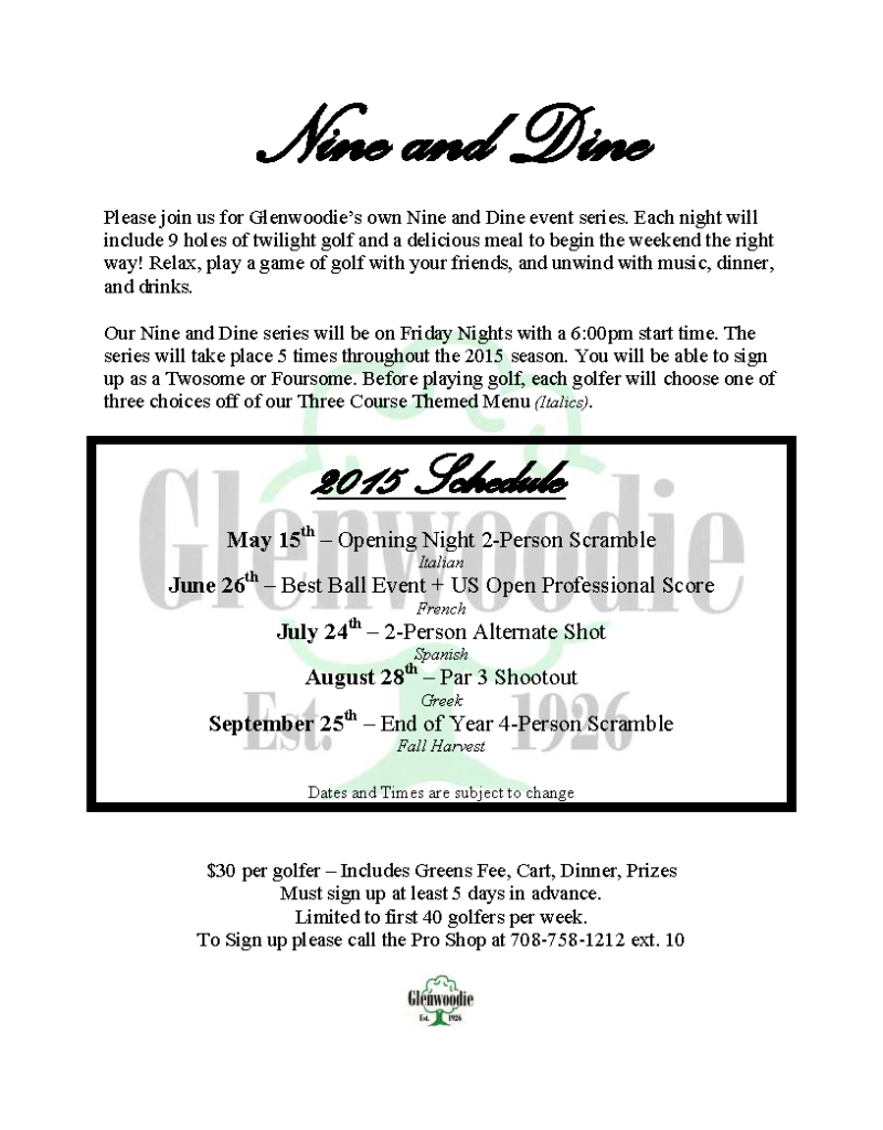 2015 Nine and Dine Flyer